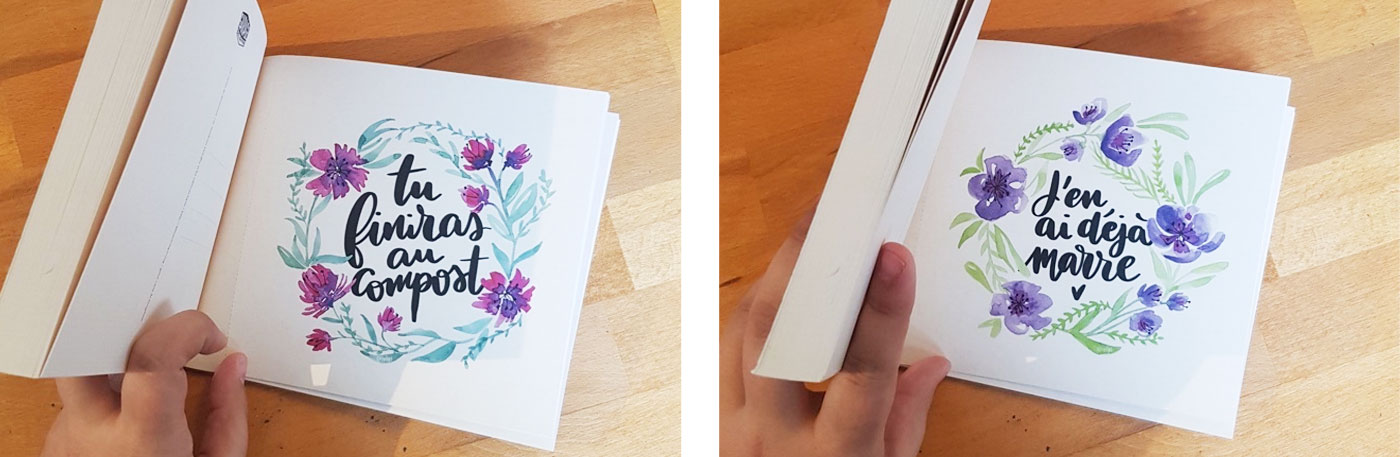 Cartes avec une belle écriture entourée de fleurs à l'aquarrelle: Tu finiras au compost / J'en ai déjà marre