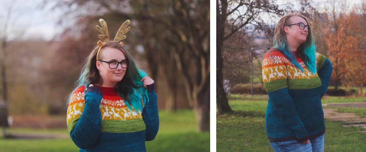 pull trioté aux couleurs arc-en-ciel sur le col avec des motifs flocons et rennes en jacquard
