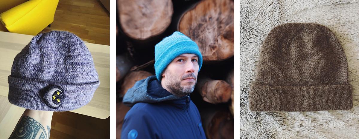 3 bonnets a rebord plié tricotés
