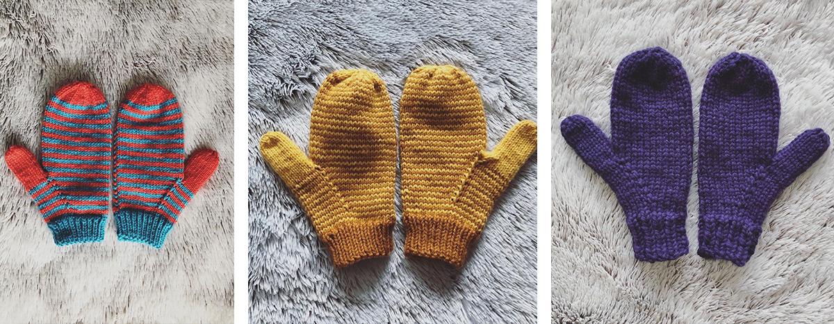 3 paires de moufles tricotées