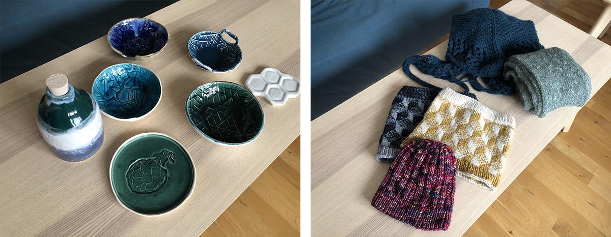 Lots du giveaway en céramique (bols et bouteille) et en tricot (echarpes, cols et bonnet)