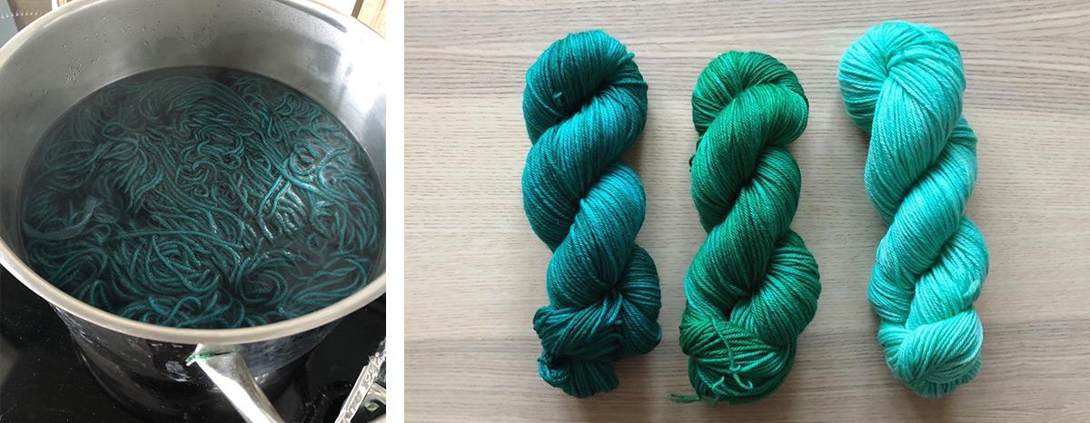 teinture de laine dans un fait-tout / les trois écheveaux de laine teints