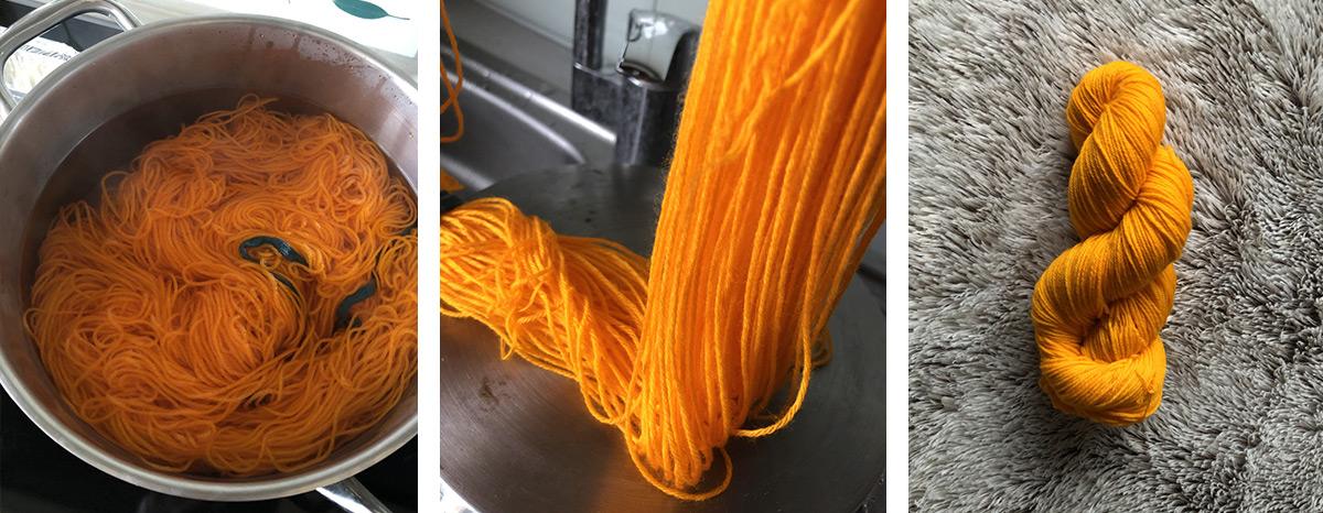 teinture de laine dans un fait-tout / un écheveau de laine jaune-orangée