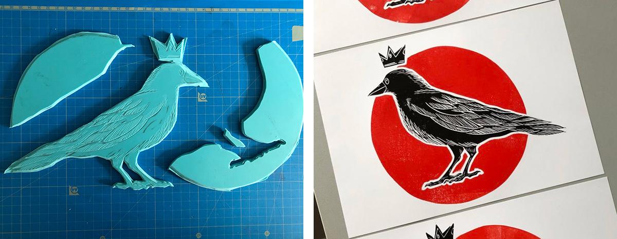 gravure d'un corbeau avec une petite couronne